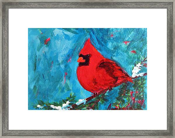 Cardinal Red Bird Watercolor Modern Art Framed Print