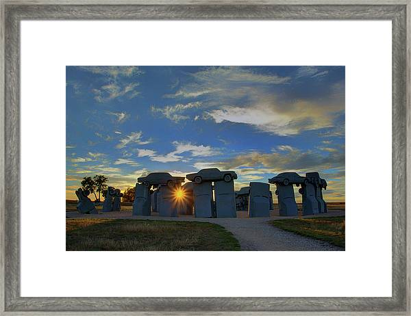 Carhenge - Nebraska - Sunset Framed Print