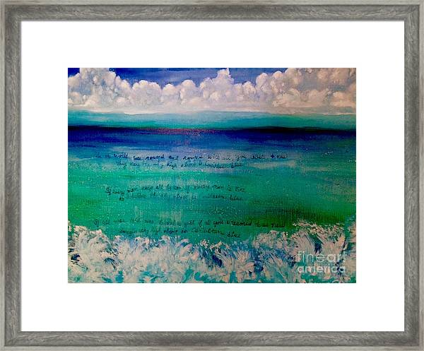 Caribbean Blue Words That Float On The Water  Framed Print