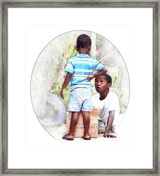 Caribbean Kids Illustration Framed Print
