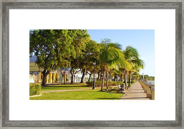Caribbean Waterfront Framed Print by Linda Morland