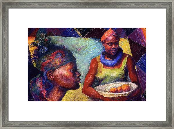Caribbean Women With Oranges Framed Print