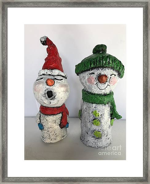 Caroling Snowmen Framed Print
