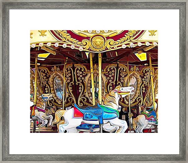 Carousel Erie County Fair 2017 Expressionist Effect Framed Print