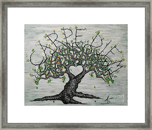 Framed Print featuring the drawing Carpe Diem Love Tree by Aaron Bombalicki