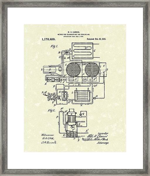 Carrier Air Conditioner 1916 Patent Art Framed Print