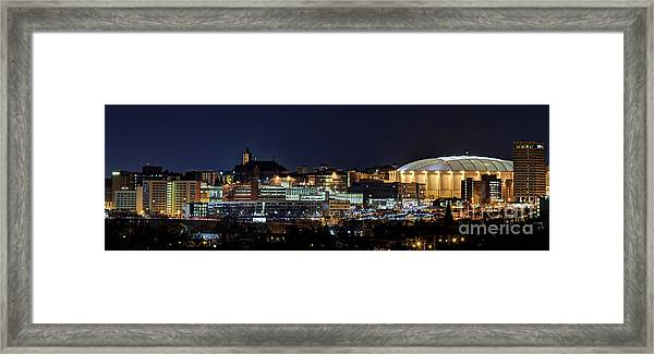 Carrier Dome And Syracuse Skyline Panoramic View Framed Print