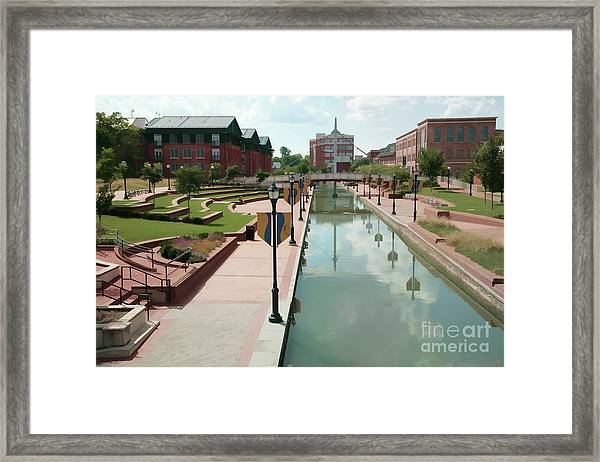 Carroll Creek Park In Frederick Maryland With Watercolor Effect Framed Print