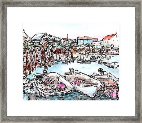 Carvers Harbour With Boats , Vinal Haven,  Maine Framed Print
