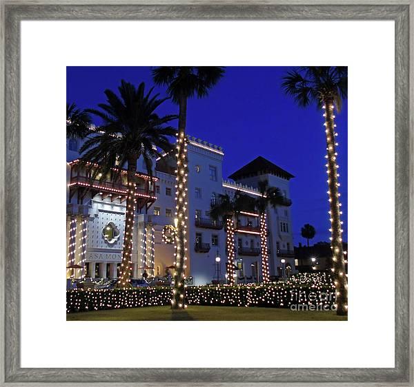 Casa Monica Inn Night Of Lights Framed Print