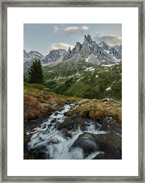 Cascade In The Alps II Framed Print