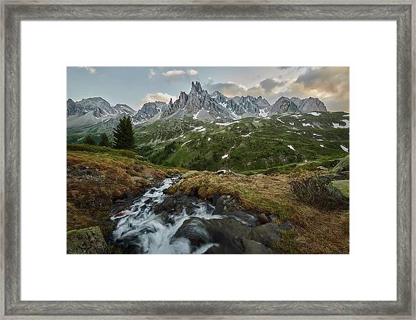 Cascade In The Alps Framed Print