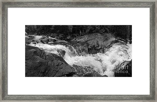 Cascade Stream Gorge, Rangeley, Maine  -70756-70771-pano-bw Framed Print