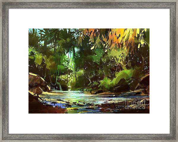 Framed Print featuring the painting Cascades In Forest by Tithi Luadthong