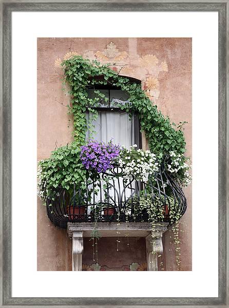 Cascading Floral Balcony Framed Print