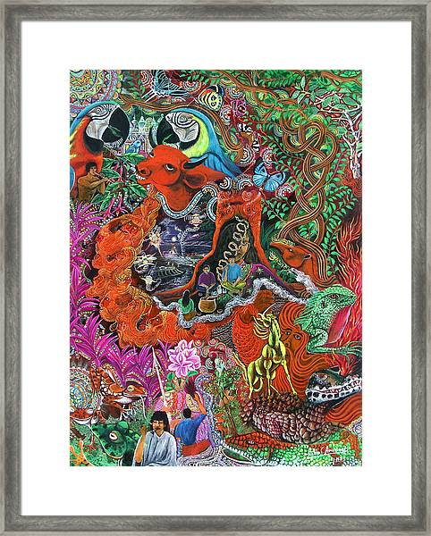 Framed Print featuring the painting Caspi Shungo by Pablo Amaringo