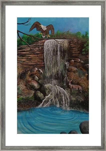 Casscading Waterfall Framed Print