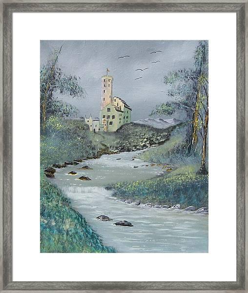Castle By Stream Framed Print