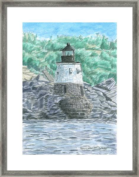 Framed Print featuring the painting Castle Hill Lighthouse by Dominic White