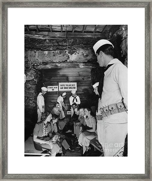 Castle Village Air Raid Shelter Framed Print