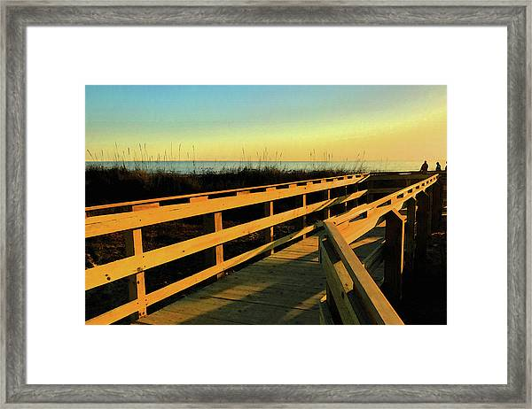Framed Print featuring the digital art Caswell Sunset by Gina Harrison
