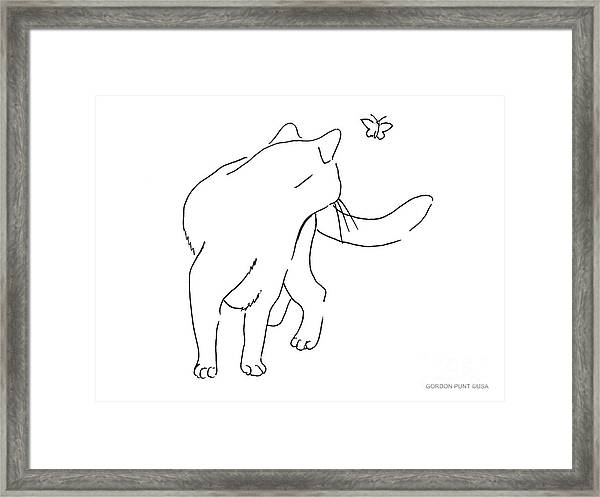 Cat-drawings-black-white-2 Framed Print