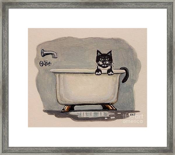 Cat In The Bathtub Framed Print