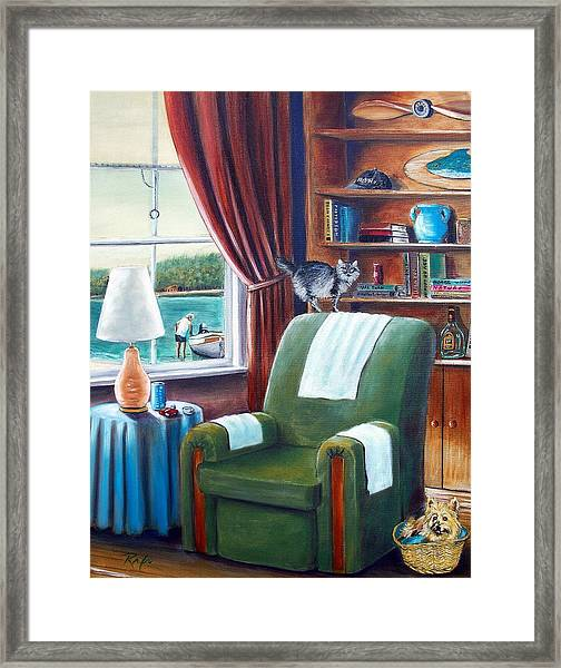 Cat On The Chair, Dog In The Basket Framed Print
