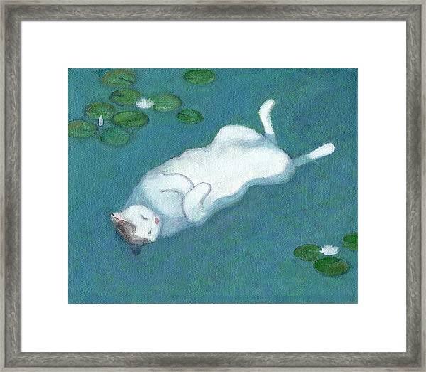 Cat On Vacation Framed Print