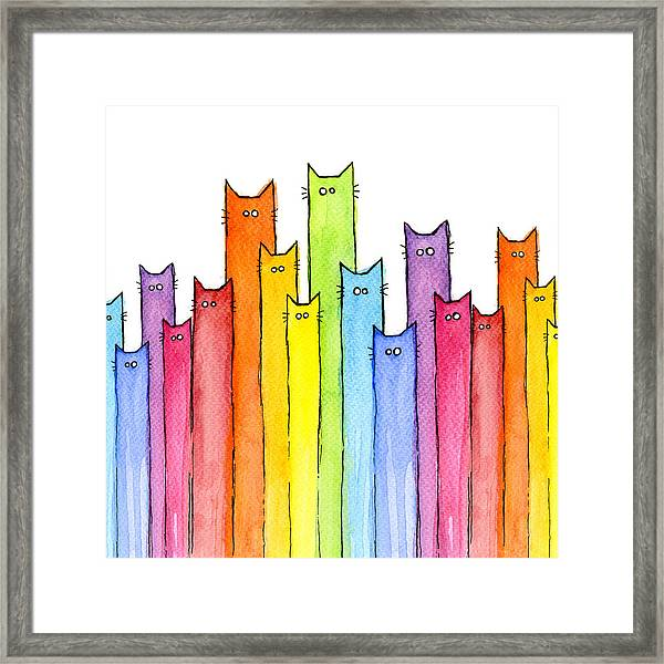 Cat Rainbow Watercolor Pattern Framed Print