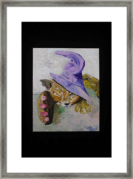 Cat With A Magician's Hat Framed Print