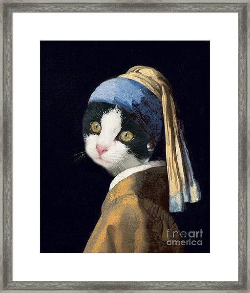 Cat With A Pearl Earring Framed Print