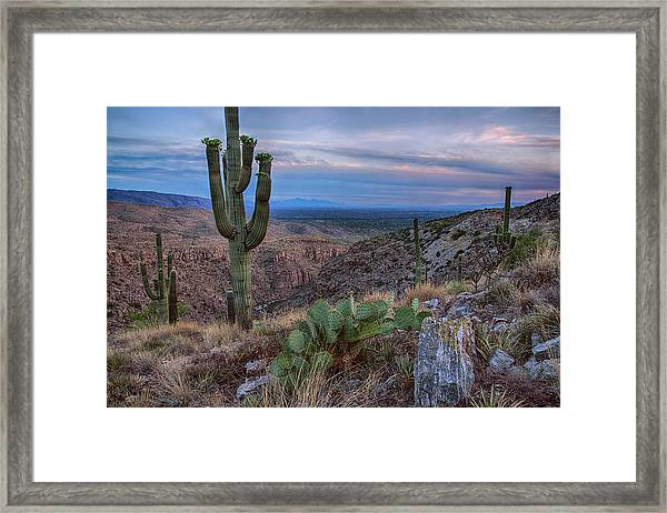 Catalina Mountains Color Sunset Framed Print
