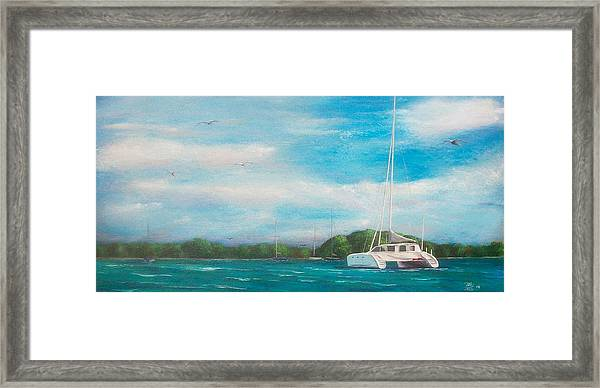 Catamaran In Salinas Harbor Framed Print