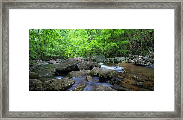 Framed Print featuring the photograph Catawba Stream And Rocks Panorama by Ranjay Mitra