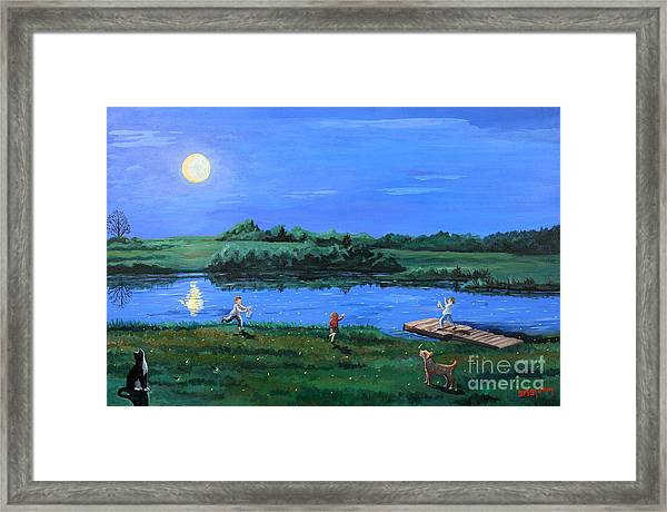 Catching Fireflies By Moonlight Framed Print