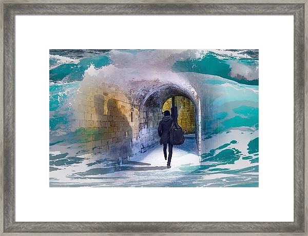 Catching The Tube With My Guitar Framed Print
