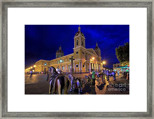 Cathedral Of Granada Shines Brightly Framed Print