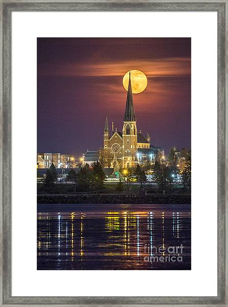 Cathedral Of The Immaculate Conception With Full Moon Framed Print
