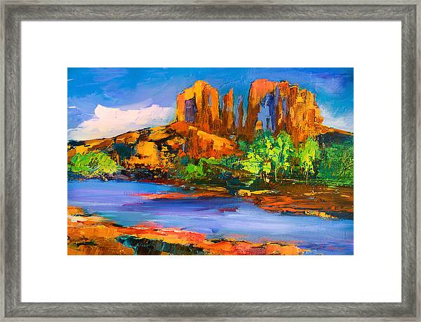 Framed Print featuring the painting Cathedral Rock Afternoon by Elise Palmigiani