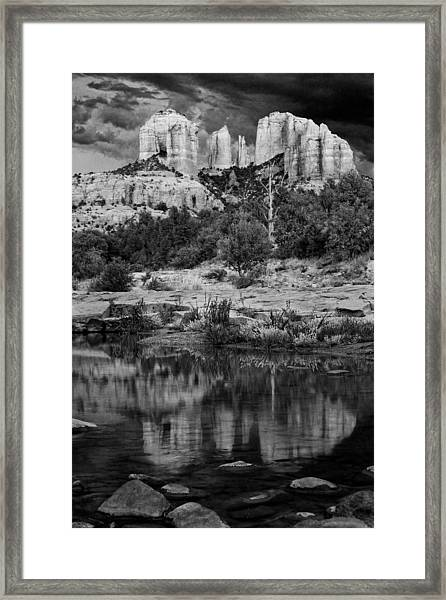 Cathedral Rock Black And White Number Seven Framed Print