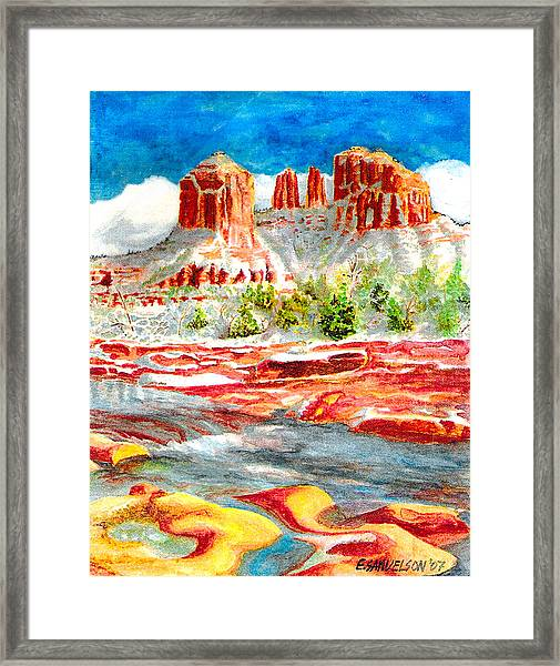 Cathedral Rock Crossing Framed Print