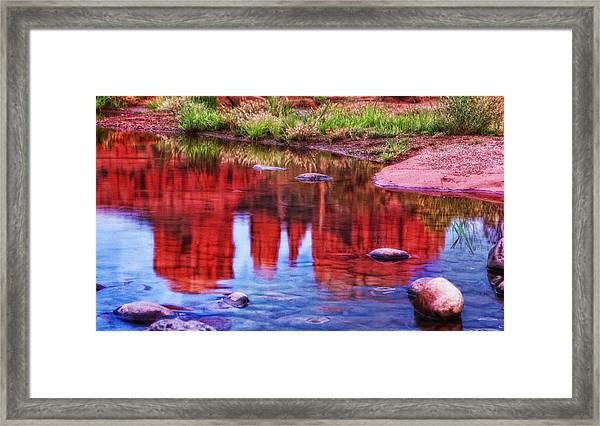 Cathedral Rock Reflection Painterly Framed Print