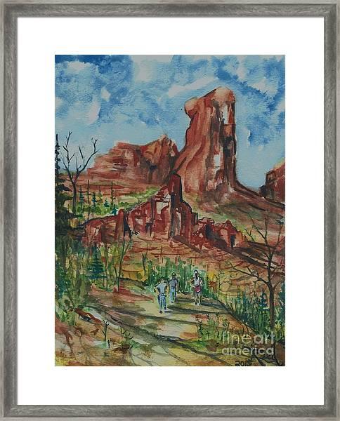 Hiking Cathedral Rock,  Sedona, Az. Framed Print