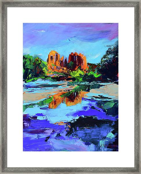 Framed Print featuring the painting Cathedral Rock - Sedona by Elise Palmigiani