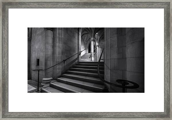 Cathedral Stairwell Framed Print by Michael Donahue