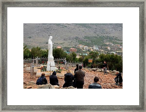 Catholic Pilgrim Worshipers Pray To Virgin Mary Medjugorje Bosnia Herzegovina Framed Print