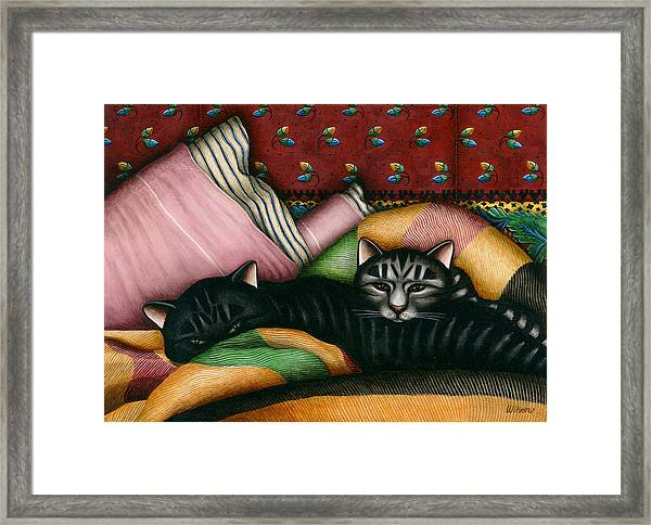 Cats With Pillow And Blanket Framed Print by Carol Wilson