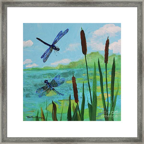 Cattails And Dragonflies Framed Print