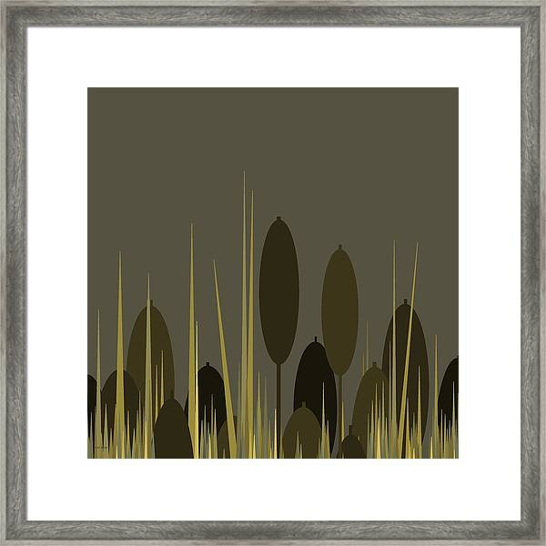 Cattails In The Rain Framed Print